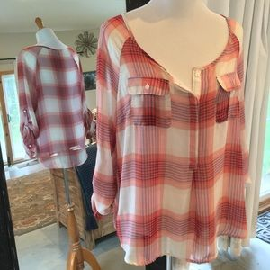 Old Navy sheer plaid blouse